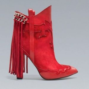 Zara Basic Western suede/leather fringed booties
